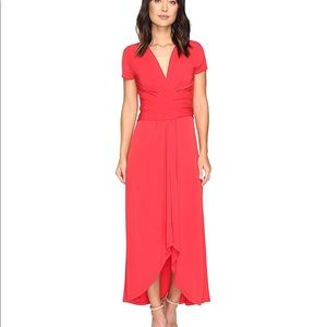 Michael Kors short sleeve red maxi wrap dress